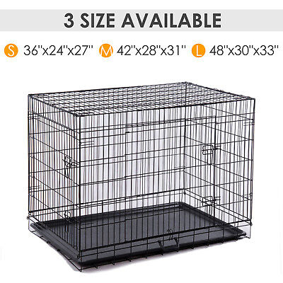 """36"""" / 42"""" Black Folding Dog Cage Pet Puppy Crate Kennel Divider ABS Pan 2 Doors"""