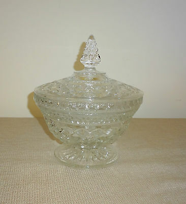 Elegant Vintage Clear Glass Footed Covered Candy Dish with Lid