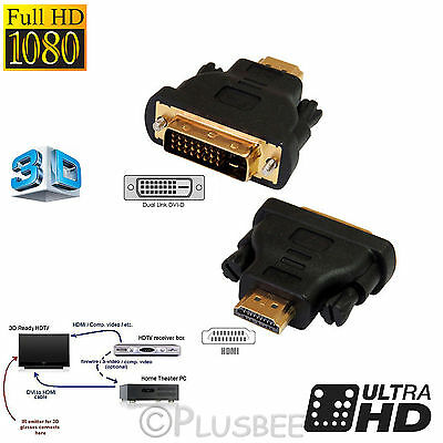 HDMI to DVI-D Male Converter Adapter Gold Plated Connectors Gender Changer HDTV