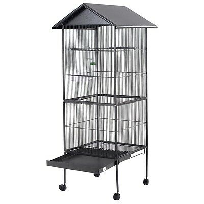 Bird Cage Large Black Parrot Cockatiel Small Parakeet Finch Crate 4 Feeder Perch