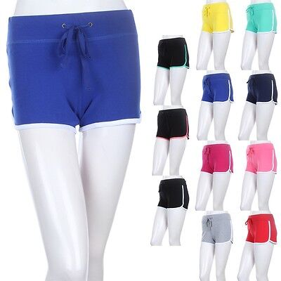 Athletic Shorts with Contrast Trim Accent Good for Exercise Comfy Cotton S M L