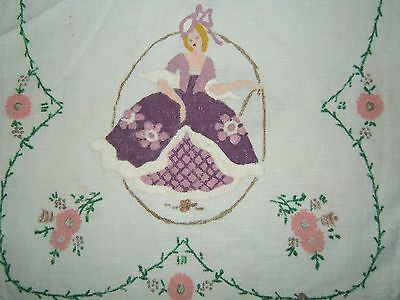 Vintage Antique Painted SOUTHERN BELLE w LACE White Linen TABLE RUNNER 13x42