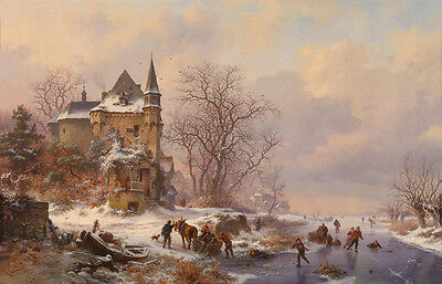 Art oil painting ancient old village winter snow landscape skaters free shipping