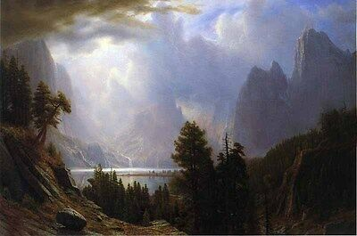 Huge Oil painting Albert Bierstadt - Landscape with mountains lake before storm