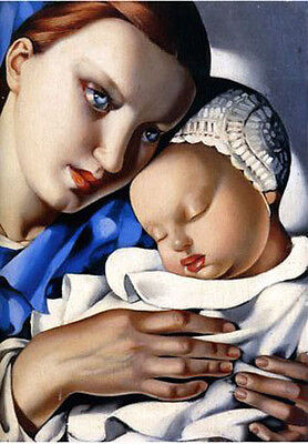 Art oil painting lempicka-mother-and-child-reproduction free shipping canvas