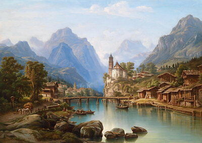 Large oil painting charming landscape with village church by the river on canvas