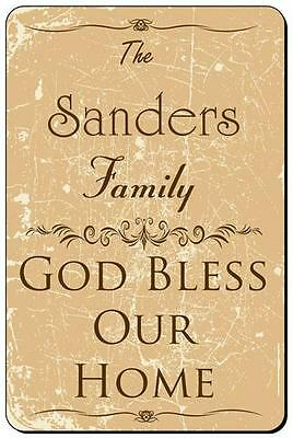 SANDERS Family Name Metal Plaque Sign God Bless Our Home home decor 8x12 FS-004