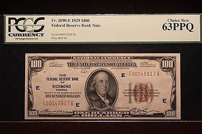 "1929 $100 FRB PCGS 63PPQ Choice New Fr. 1890 ""EXCELLENT"""