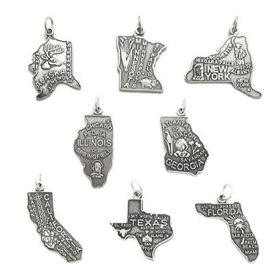 925 Sterling Silver State Charm (All 50 States available)  Choose your state