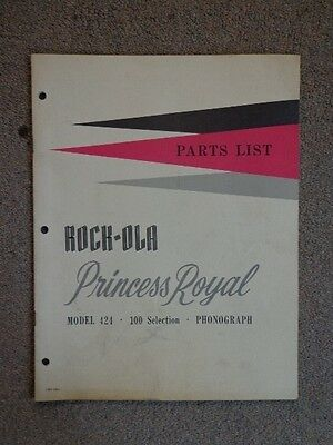 Rock Ola Princess Royal Model 424 100 Selection Phonograph Jukebox Parts List.
