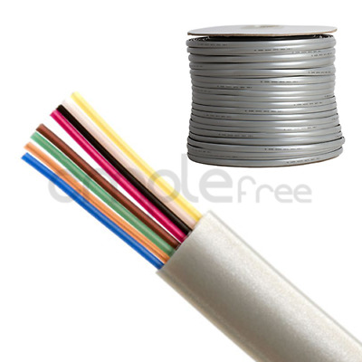 1000FT Phone Cable Solid Copper Telephone Line Flat 8 Wire Conductor 26AWG NEW