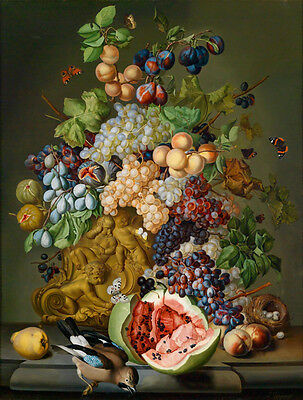 Huge oil painting beautiful still life fruits with butterfly and birds nest 36""
