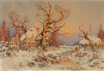 Nice Oil painting beautiful winter snow landscape with village in sunset 36""