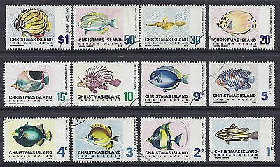 1968 CHRISTMAS ISLAND FISH DEFINITIVES COMPLETE SET OF 12 FINE USED our ref D17