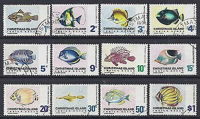 1968 CHRISTMAS ISLAND FISH DEFINITIVES COMPLETE SET OF 12 FINE USED our ref D18