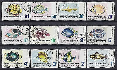 1968 CHRISTMAS ISLAND FISH DEFINITIVES COMPLETE SET OF 12 FINE USED our ref D19