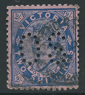 1901 - 1910 VIC Victoria Australia QV 2/- Blue Pink Postage OS Perfin REF:OS018