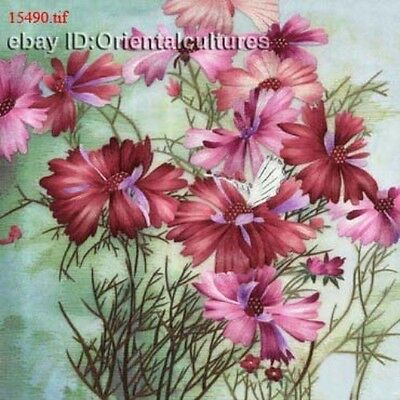 """Chinese 100% Real Natural Silk thread,Hand Embroidery Kits:flower 14"""""""