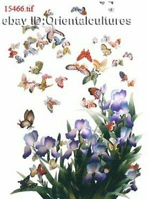 """Chinese 100% Real Natural Silk thread,Hand Embroidery Kits:flower butterflies16"""""""
