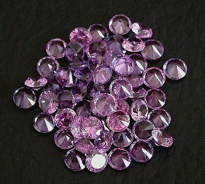 FOUR 5.5mm Round Synthetic Corundum Rhodolite Sapphire Red Purple Color Gemstone
