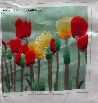 Chinese 100% Handmade silk Embroidery tulip flower   8""