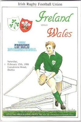 IRELAND v WALES 1986 RUGBY PROGRAMME