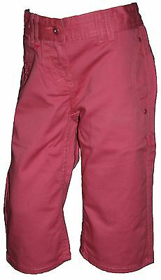 Ex Store Girls Pure Cotton 3/4 Cropped Trousers Dark Pink