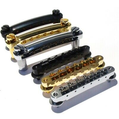 Tune O Matic guitar bridge / Tailpiece combo in chrome, black or gold + posts