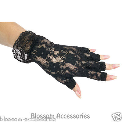 A322FW Short Stretch Black Fingerless Lace Gloves Lingerie Burlesque Costume