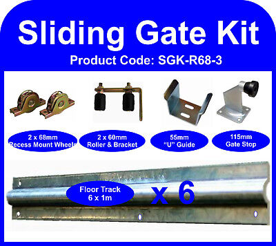 Complete Sliding Gate Hardware Kit for 3m Gate with 68mm recess mounted wheels