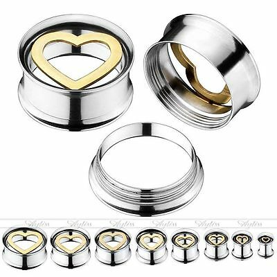 Hollow Surgical Steel Golden Heart Screw Ear Plugs Tunnels Stretcher Expander