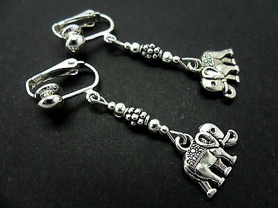 A Pair Of  Tibetan Silver Dangly Elephant Clip On  Earrings. New.