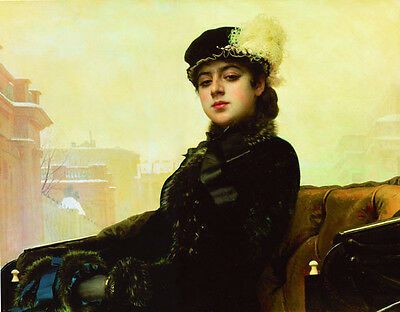Beautiful oil painting nice young lady in black seated on carriage in landscape