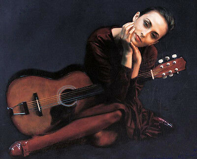 Huge Oil painting portraits nice young girl with Guitar Wholesale art canvas