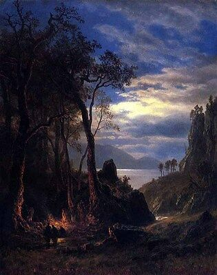 Huge Oil painting Albert Bierstadt - The Campfire with hunters in forest canvas