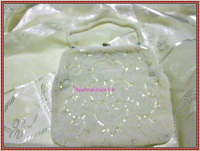 Vintage Whiting & Davis  50's white beaded evening bag Preowned  GREAT DEAL