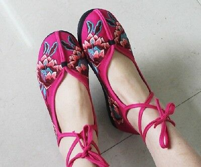 Hot china style embroidered ankle strap cotton Chinese multi-color shoes
