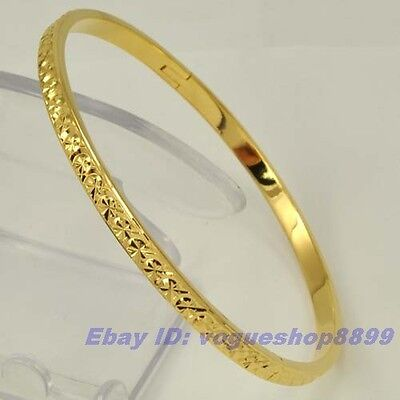 "7.8""4mm15g REAL 18K YELLOW GOLD PLATED BANGLE SOLID GP,1-3pcs Wholesale Lots"