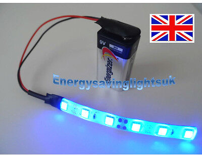 WAR GAMING MODEL SCENERY 1 x 10cm BLUE LED STRIP LIGHT WITH 9V PP3 CONNECTOR 1p