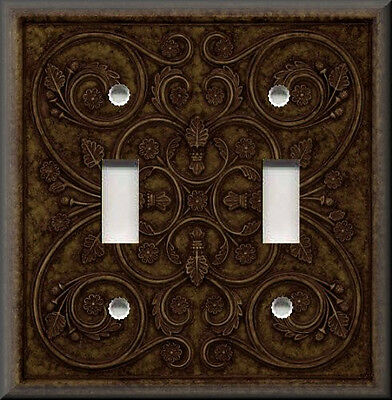 Metal Light Switch Plate Cover - French Pattern Design Bronze Brown Home Decor