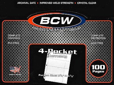 50 BCW 4 Pocket Pages Regular Dollar Bill Currency Money Binder Sheets Coupons