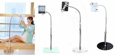 Black Floor Stand Mount Holder Adjustable Bracket Bed For All Tablet iPad Galaxy