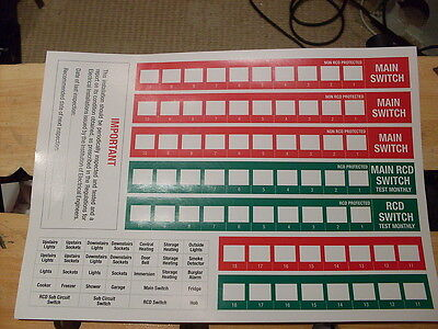 Quality Consumer Unit, Fuse Board Labels, Stickers, Wylex Legrand Mk Hager