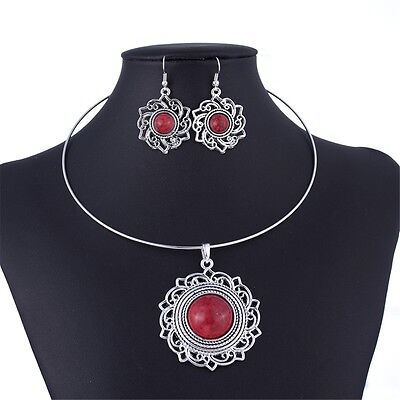 vintage style silver tone bead flower pendant necklace earring jewelry set