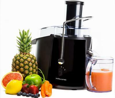 Andrew James Black Whole Vegetable & Fruit Juicer Power Citrus Juice Extractor