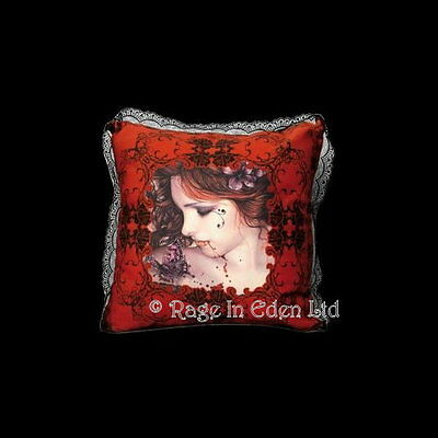 *BUTTERFLY* Goth Vampire Fantasy Art Red Lace Edge Cushion By Victoria Frances