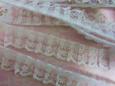 7 yards Non-Elastic 2 Tone Floral Lace Trim//Sewing//Craft//notion T15-Pink//White