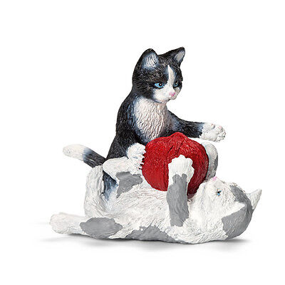 KITTENS playing with yarn  by Schleich; 13724; toy/cat/kitten/RETIRED