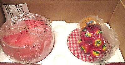 Avon Home Fragrance Apple Cinnamon Spice Jar Candle & Country Apple Topper Nib