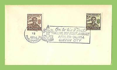 Philippines 1948 Scouts Silver Jubilee set on cover, 1954 Manila /Quezon slogan
